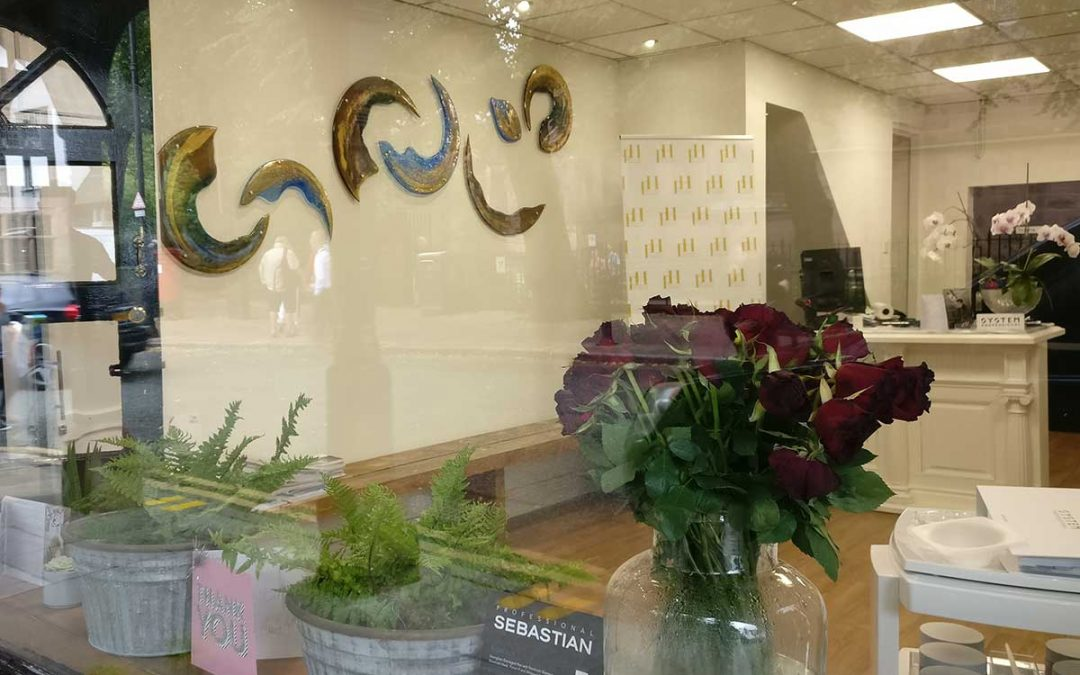 Glass art for hairdressing salon