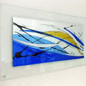 Abstract glass art picture ocean design