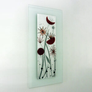 Glass art wall; picture flower design red