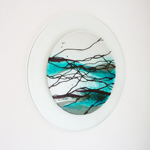 Circular glass art wall picture sea design