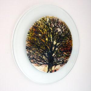 Glass art picture tree design