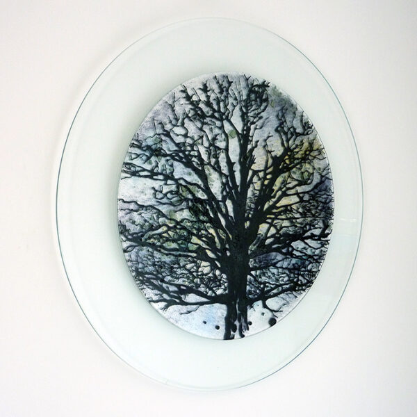 Glass art wall picture tree design